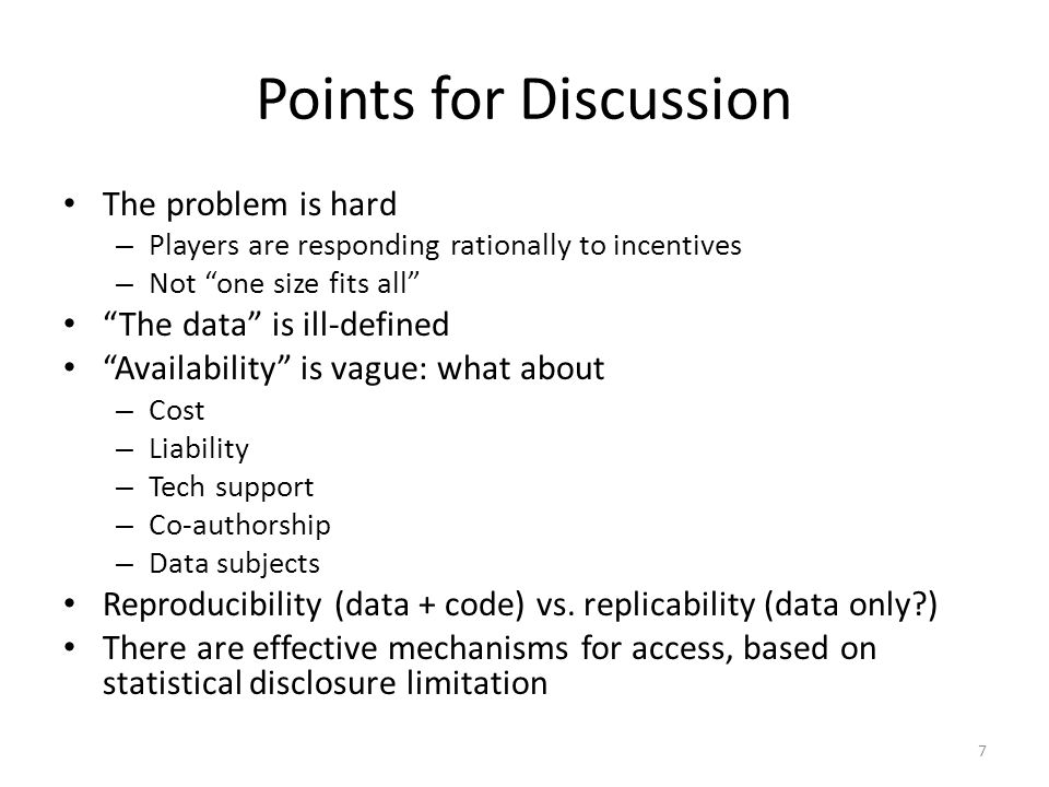 Points for Discussion The problem is hard The data is ill-defined