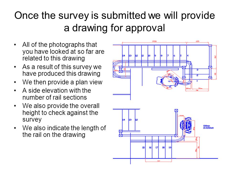 Once the survey is submitted we will provide a drawing for approval