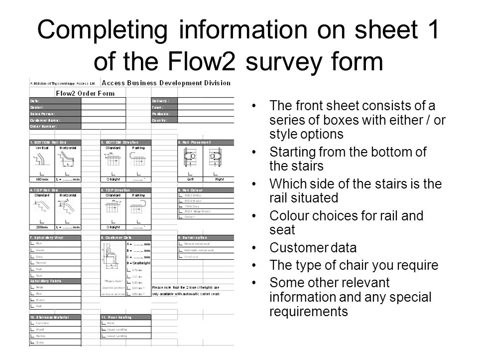 Completing information on sheet 1 of the Flow2 survey form