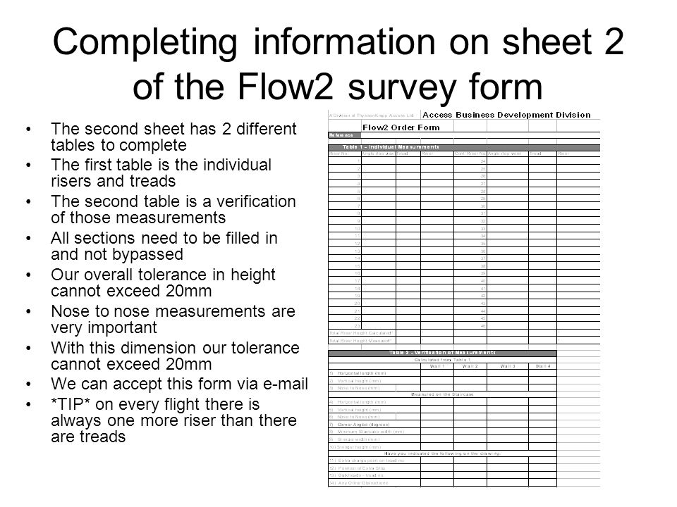 Completing information on sheet 2 of the Flow2 survey form