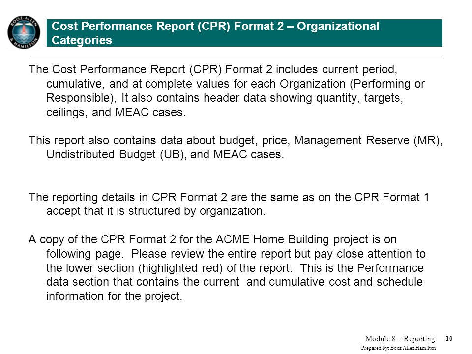 Cost Performance Report (CPR) Format 2 – Organizational Categories