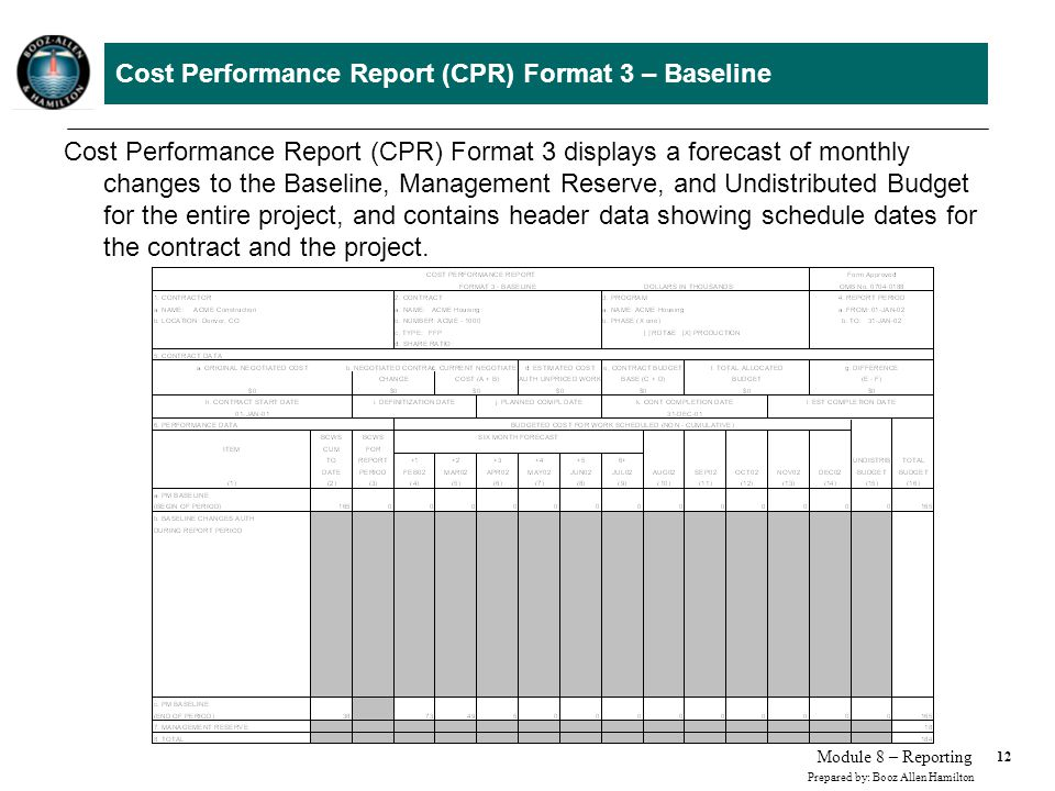 Cost Performance Report (CPR) Format 4 – Staffing