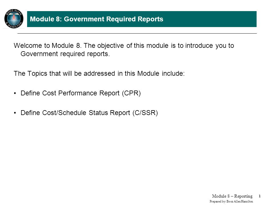 Review of Previous Modules