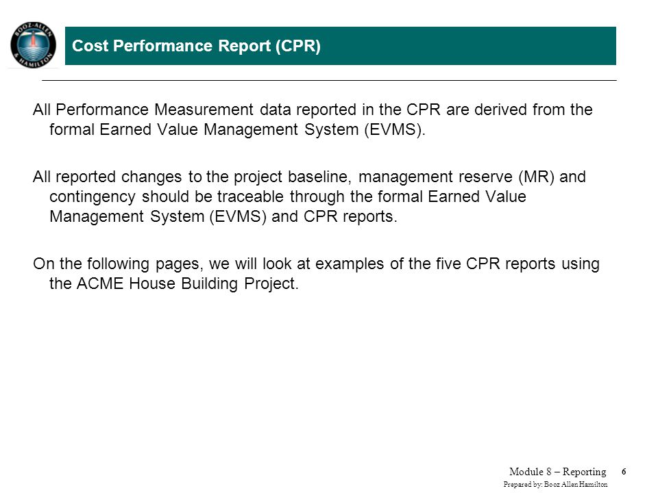 Cost Performance Report (CPR) - Example