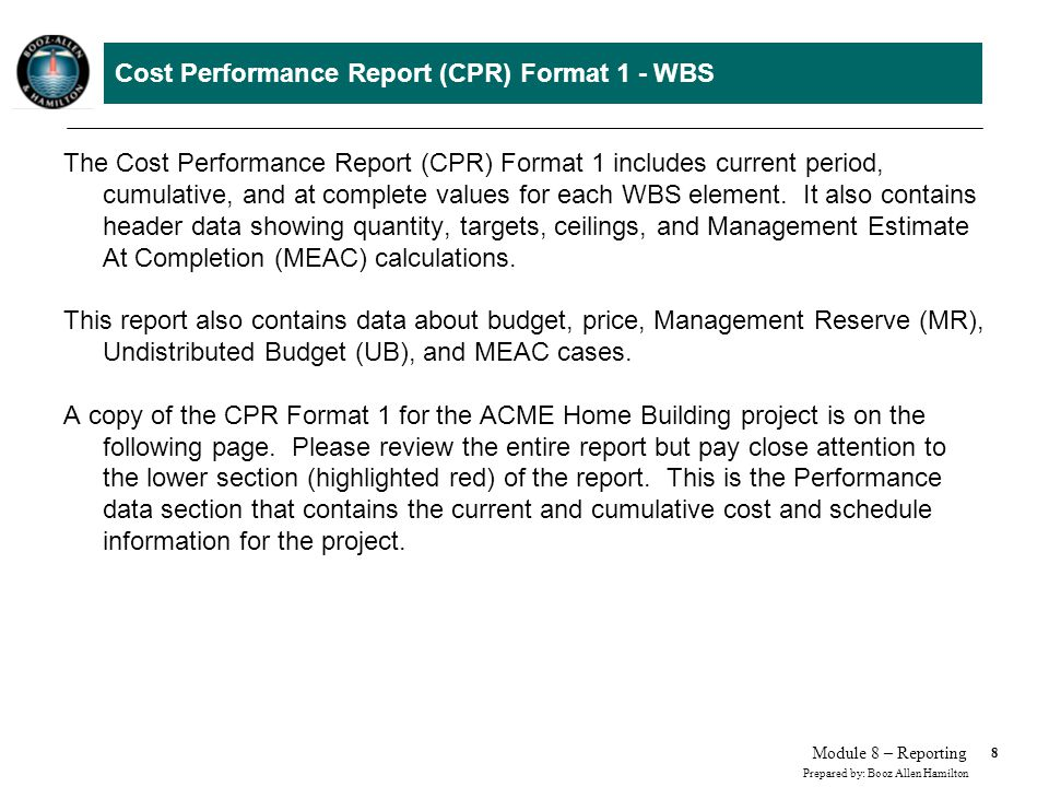 Cost Performance Report (CPR) Format 1 - WBS