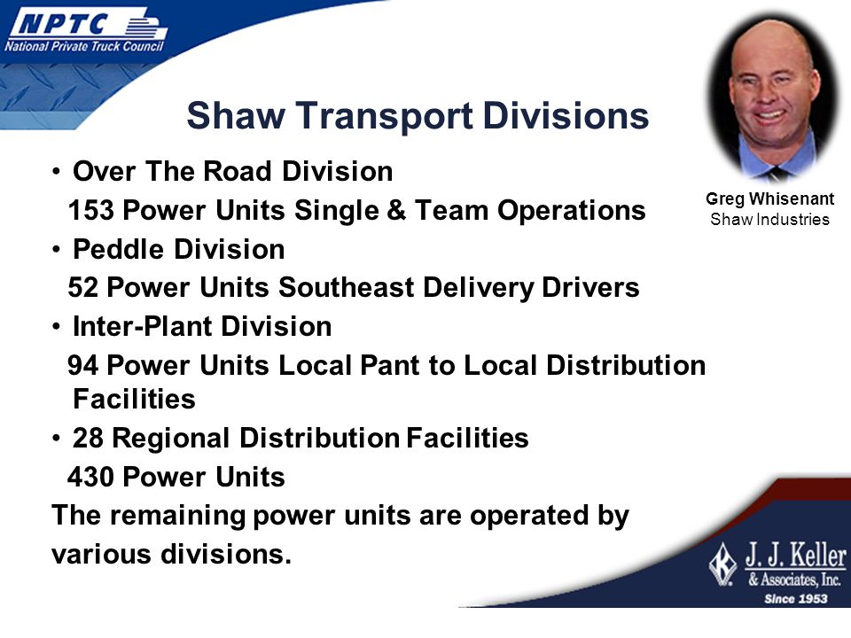 Shaw Transport Divisions