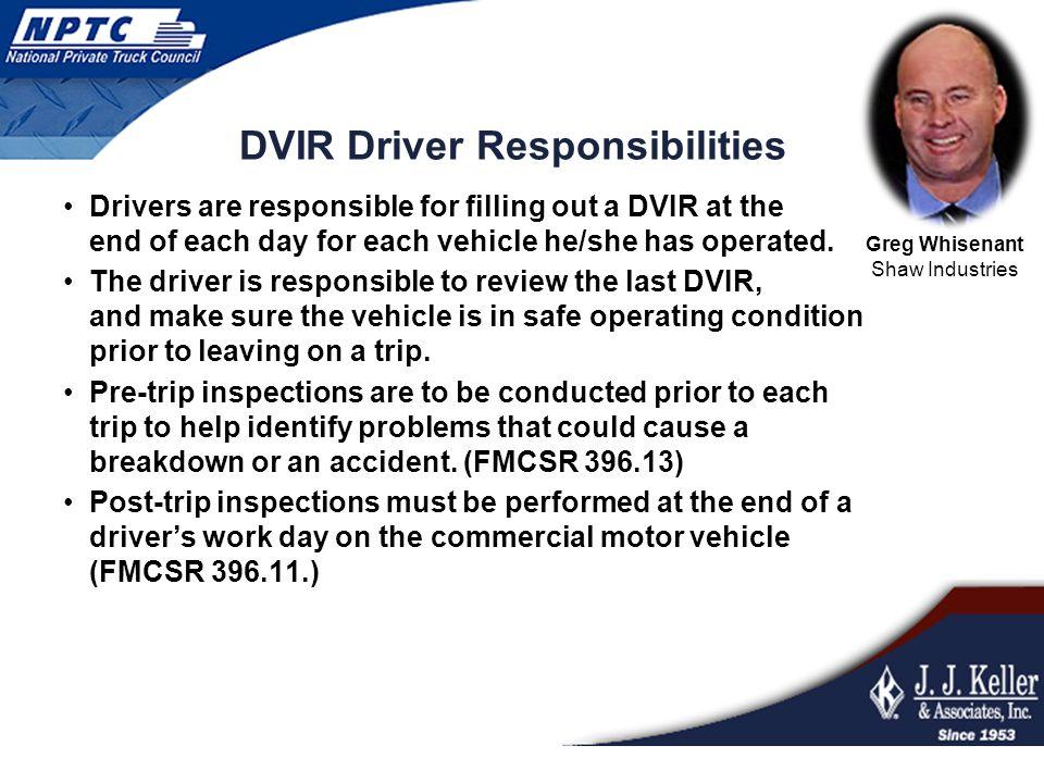 DVIR Driver Responsibilities