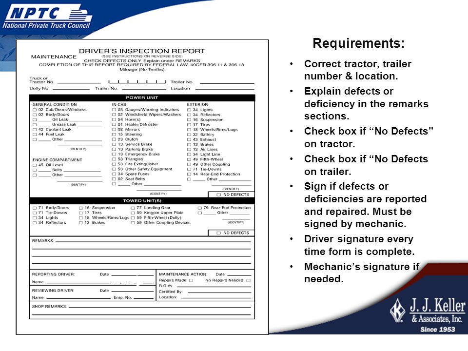 Requirements: Correct tractor, trailer number & location.