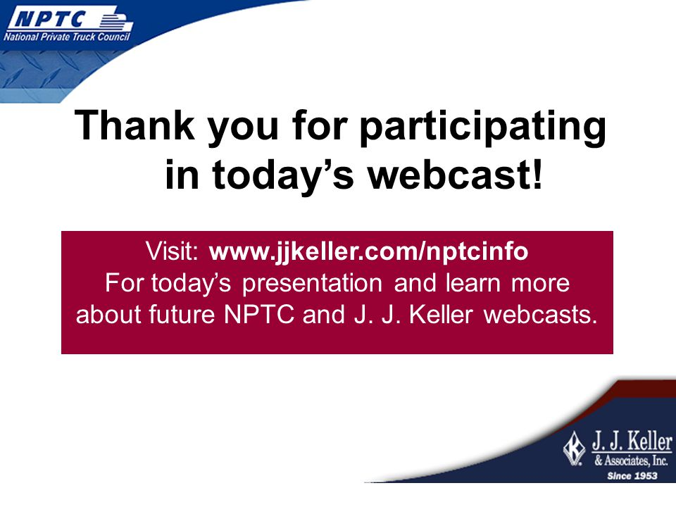 Thank you for participating in today's webcast!