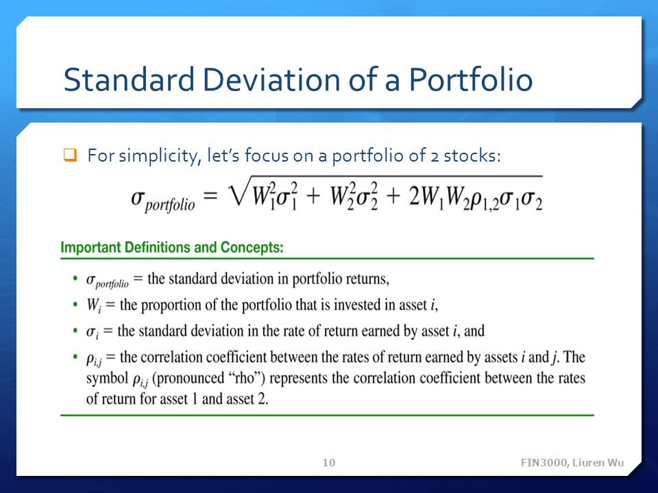 Standard Deviation of a Portfolio