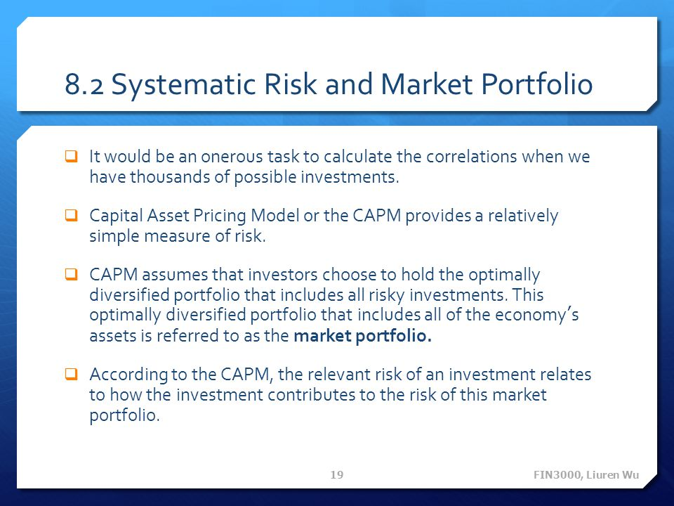 8.2 Systematic Risk and Market Portfolio
