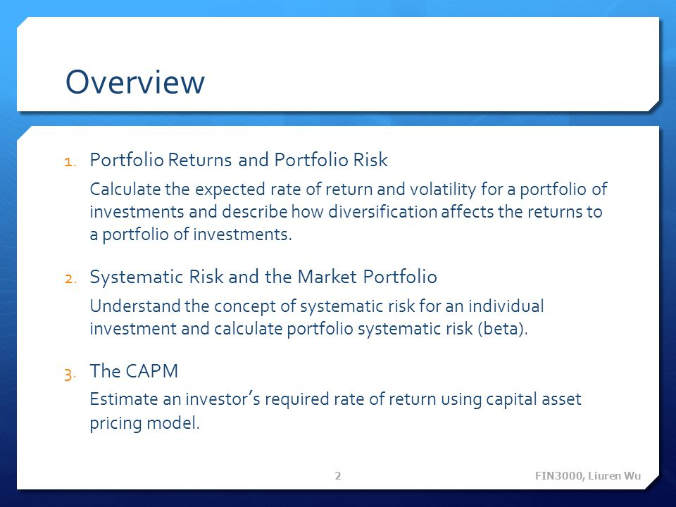 Overview Portfolio Returns and Portfolio Risk
