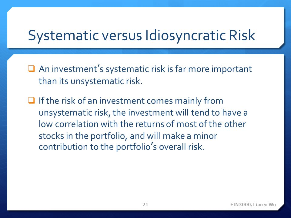 Systematic versus Idiosyncratic Risk