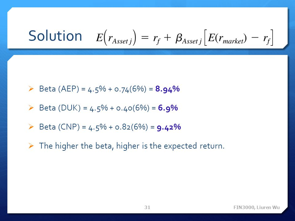 Solution Beta (AEP) = 4.5% + 0.74(6%) = 8.94%