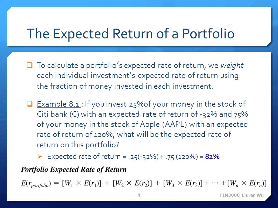 The Expected Return of a Portfolio