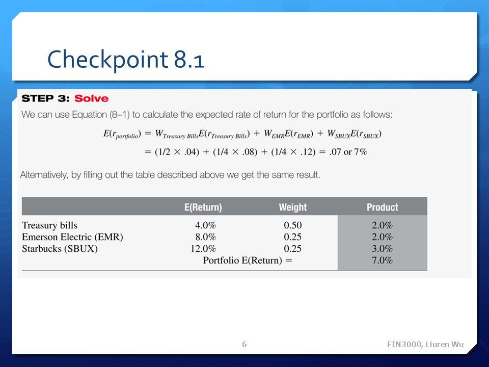 Checkpoint 8.1 FIN3000, Liuren Wu