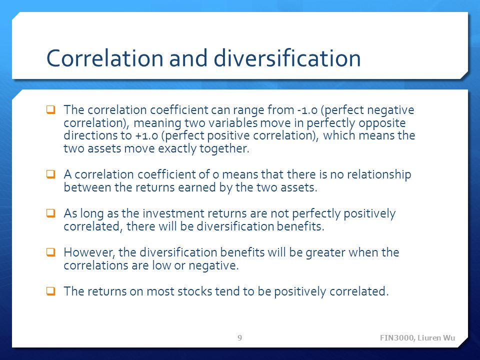 Correlation and diversification