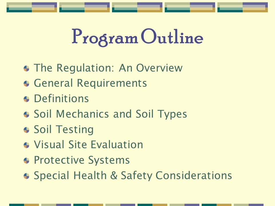 Program Outline The Regulation: An Overview General Requirements