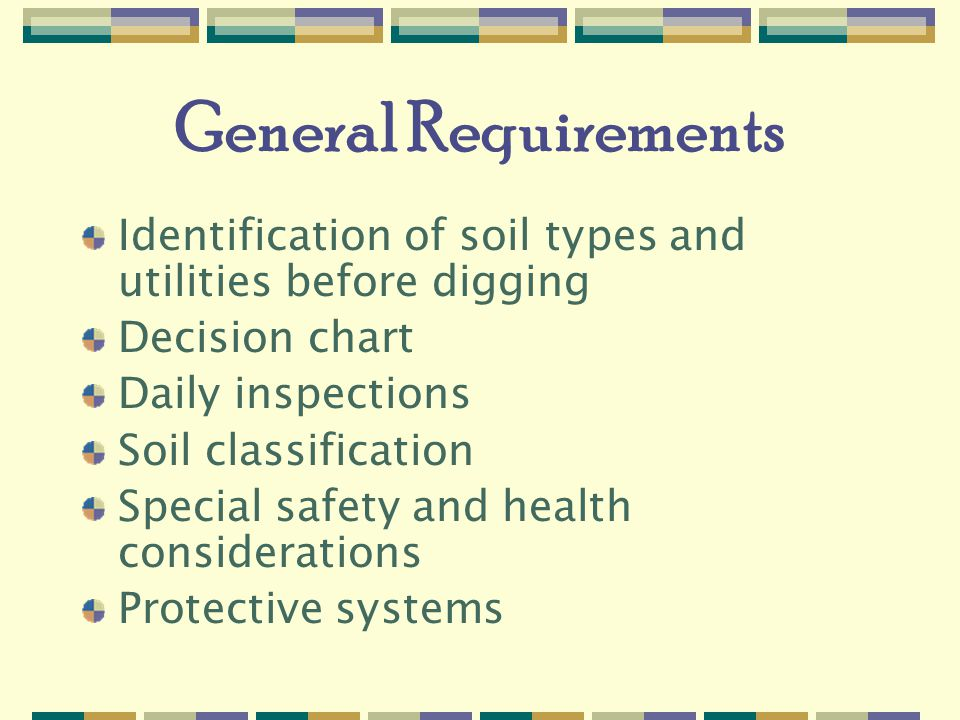 General Requirements Identification of soil types and utilities before digging. Decision chart. Daily inspections.