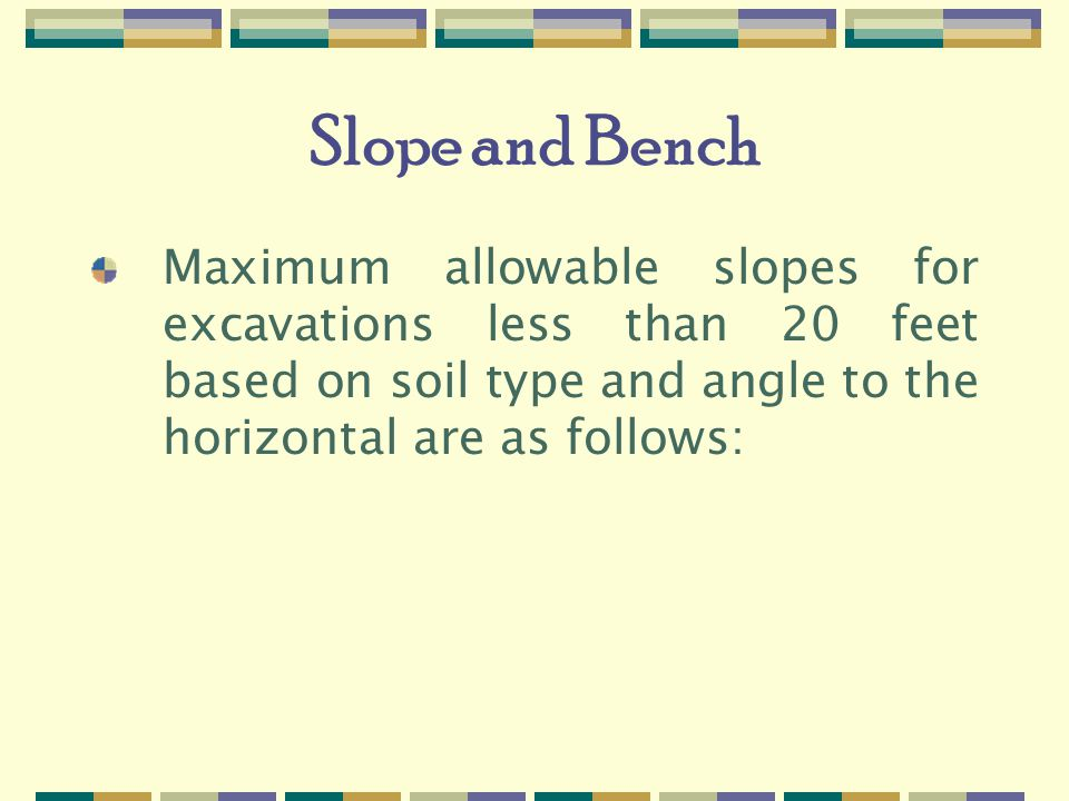Slope and Bench Maximum allowable slopes for excavations less than 20 feet based on soil type and angle to the horizontal are as follows: