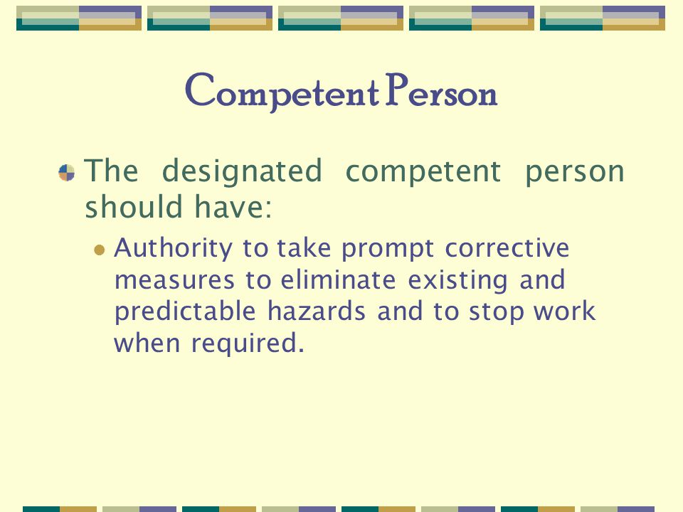 Competent Person The designated competent person should have: