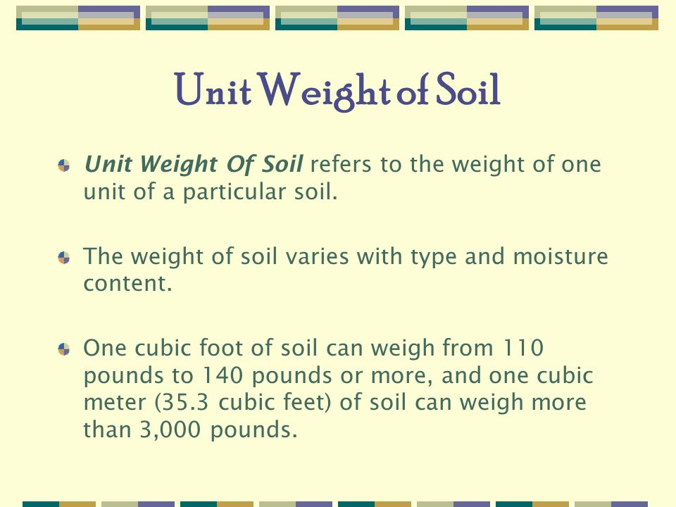 29 cfr and appendices a f excavations 29 cfr and for Soil unit weight