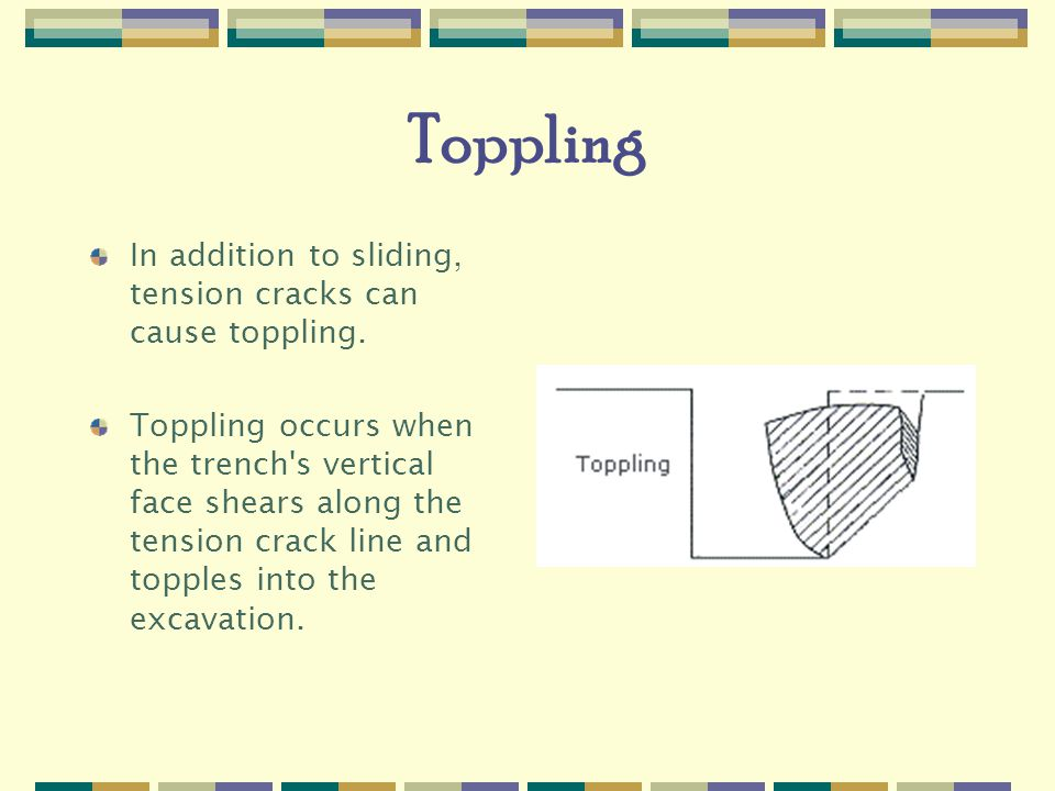 Toppling In addition to sliding, tension cracks can cause toppling.