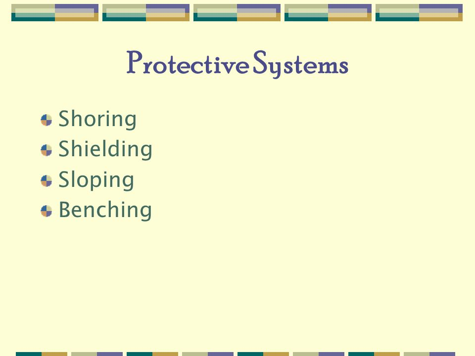 Protective Systems Shoring Shielding Sloping Benching