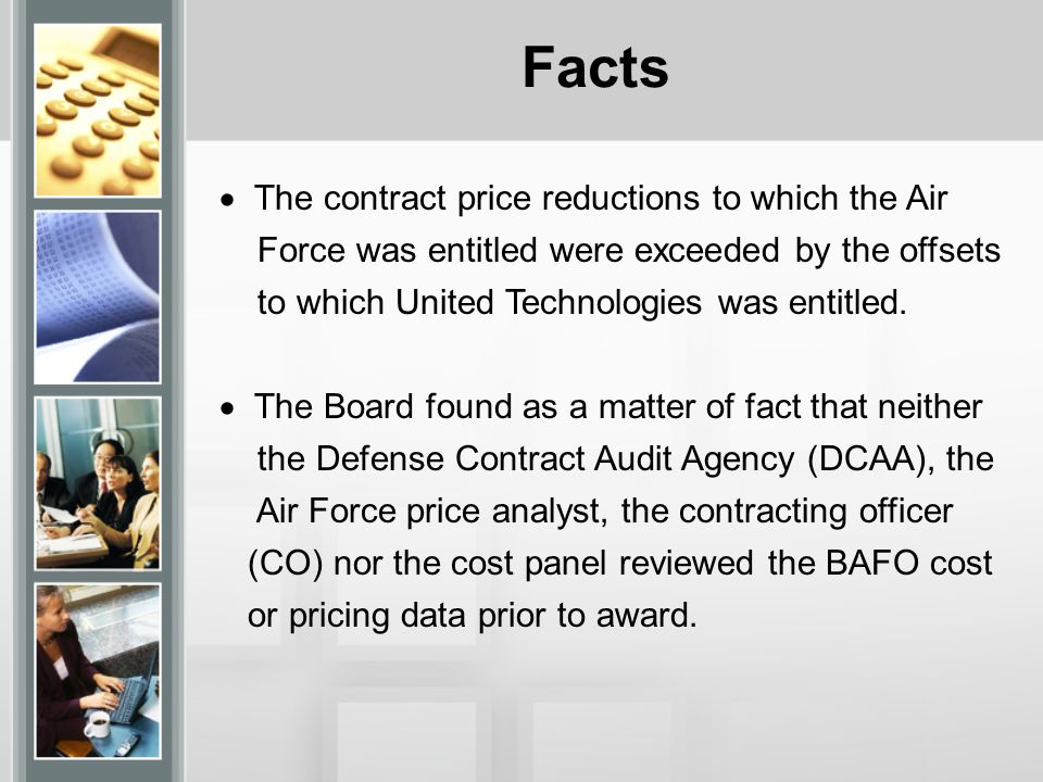 Facts The contract price reductions to which the Air