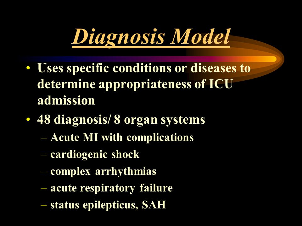 Diagnosis Model Uses specific conditions or diseases to determine appropriateness of ICU admission.