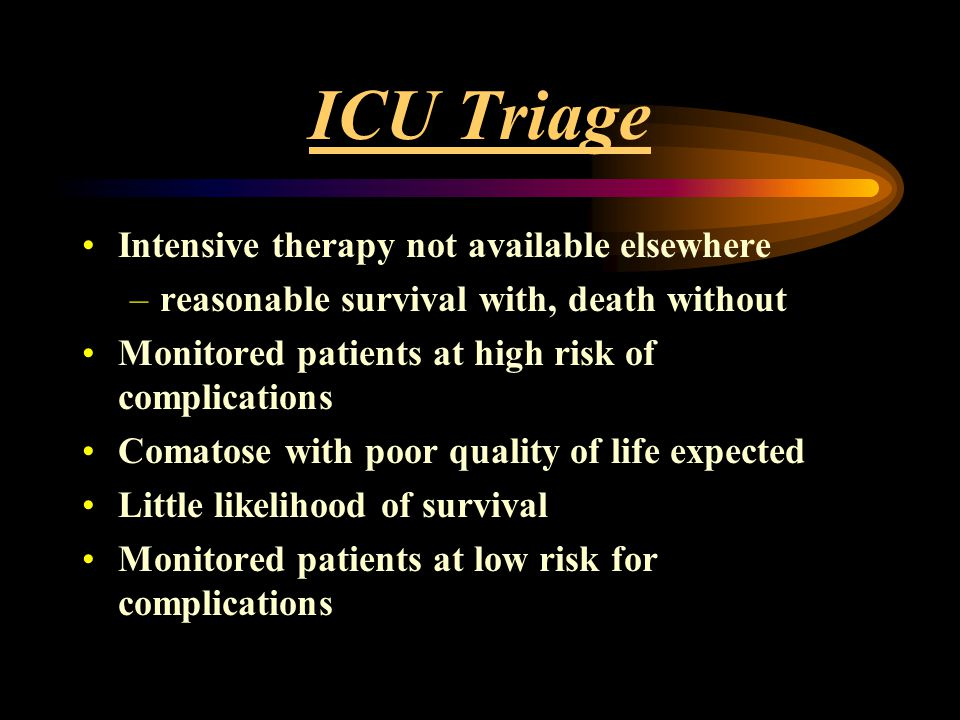 ICU Triage Intensive therapy not available elsewhere