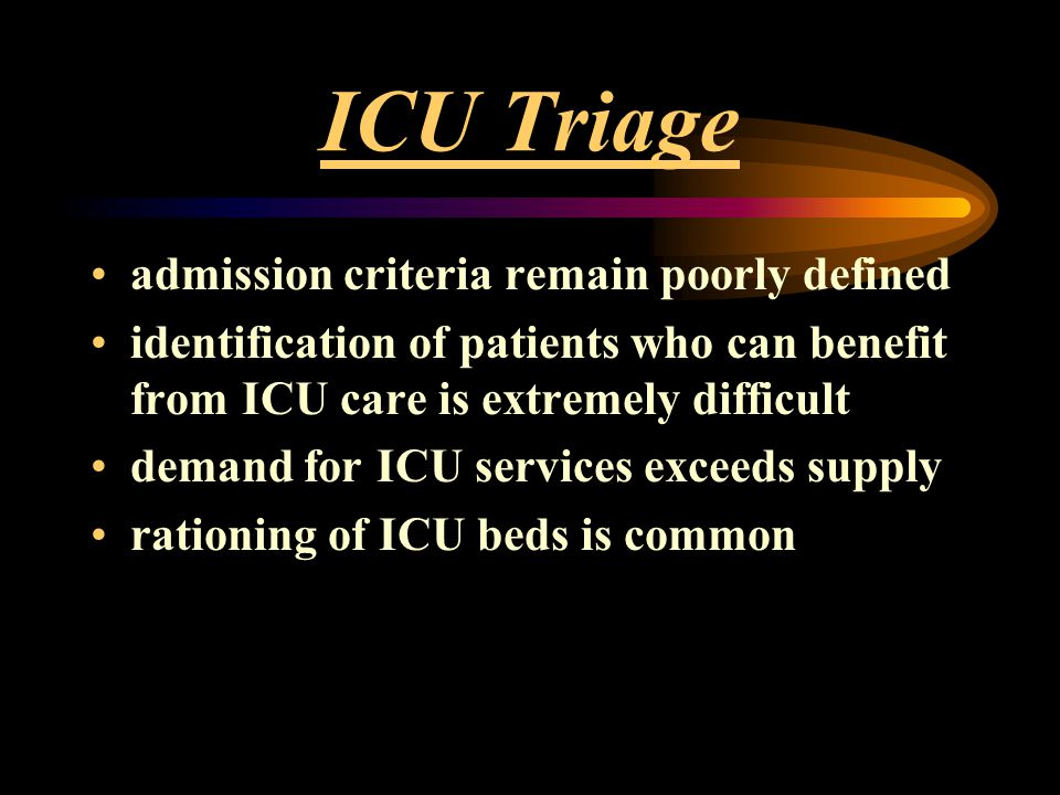 ICU Triage admission criteria remain poorly defined