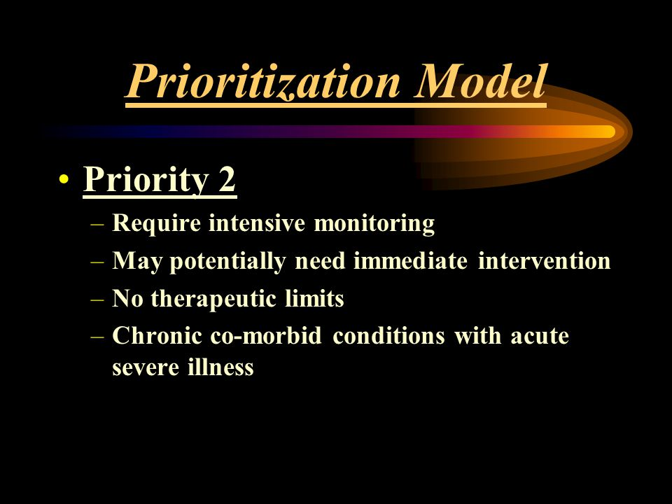 Prioritization Model Priority 2 Require intensive monitoring