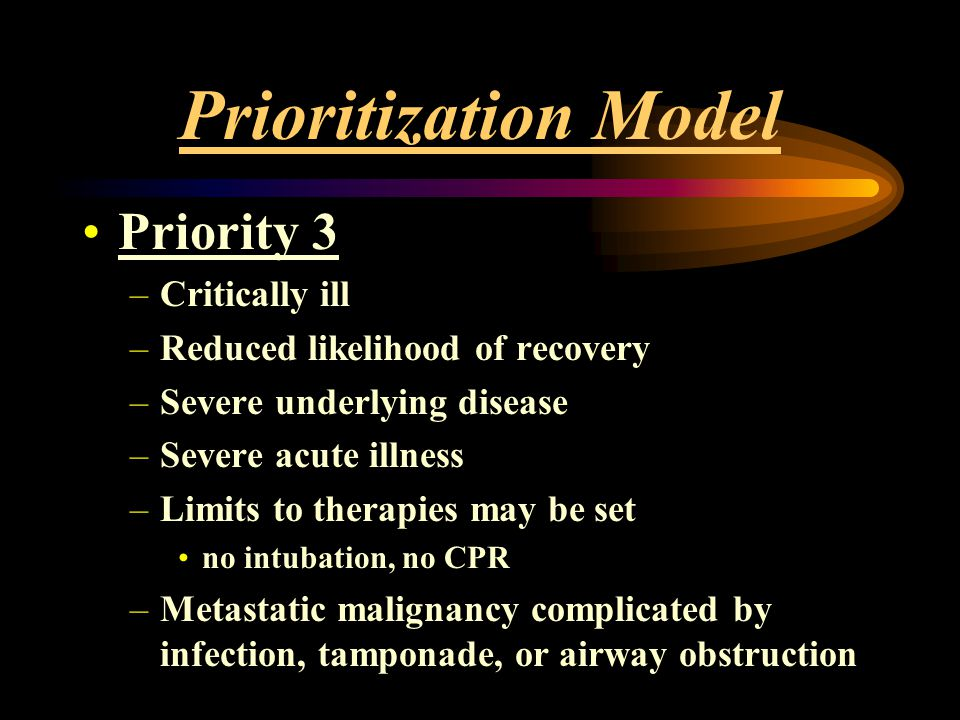 Prioritization Model Priority 3 Critically ill