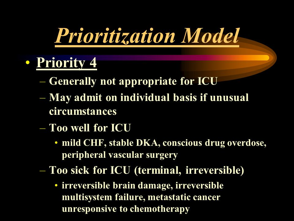 Prioritization Model Priority 4 Generally not appropriate for ICU