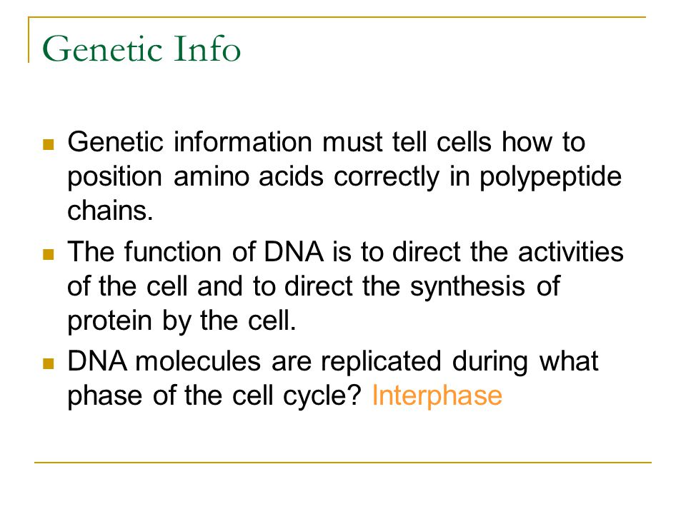 Genetic Info Genetic information must tell cells how to position amino acids correctly in polypeptide chains.