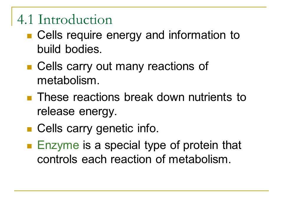4.1 Introduction Cells require energy and information to build bodies.