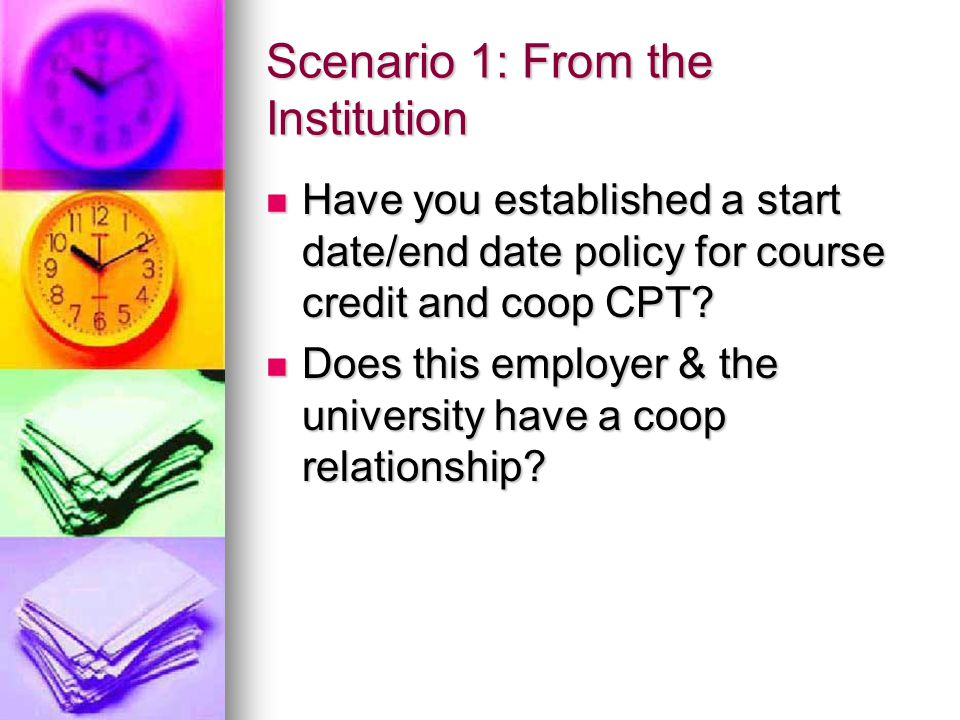 Scenario 1: From the Institution