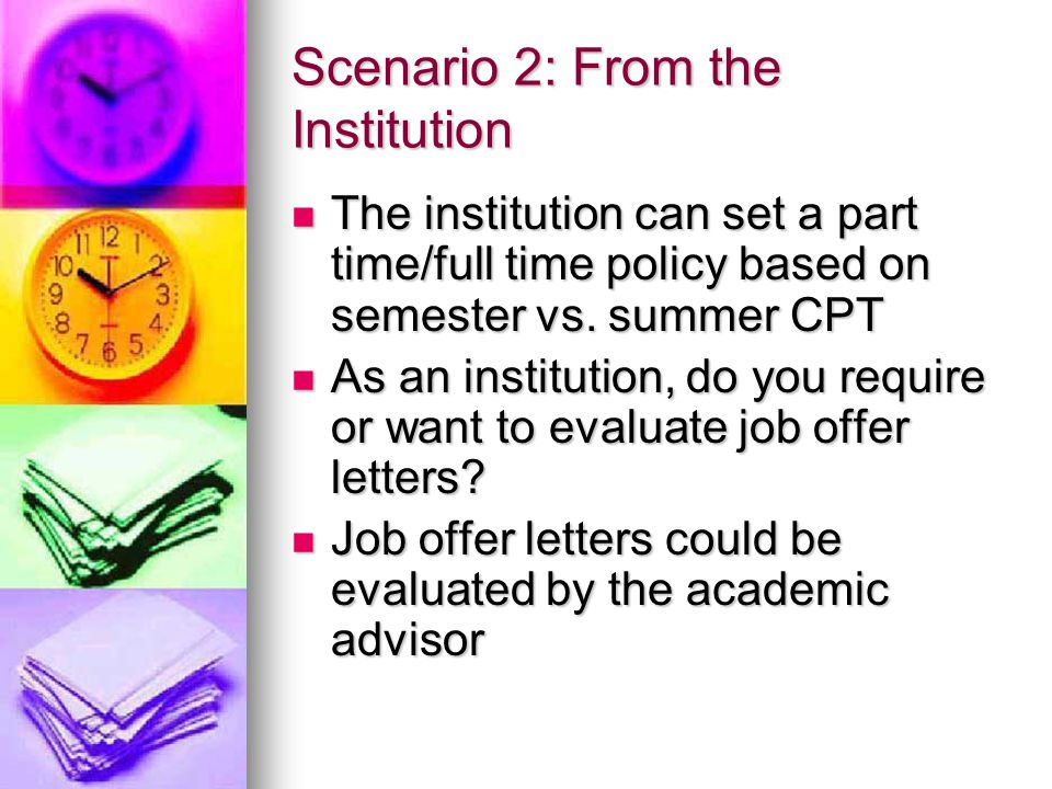 Scenario 2: From the Institution