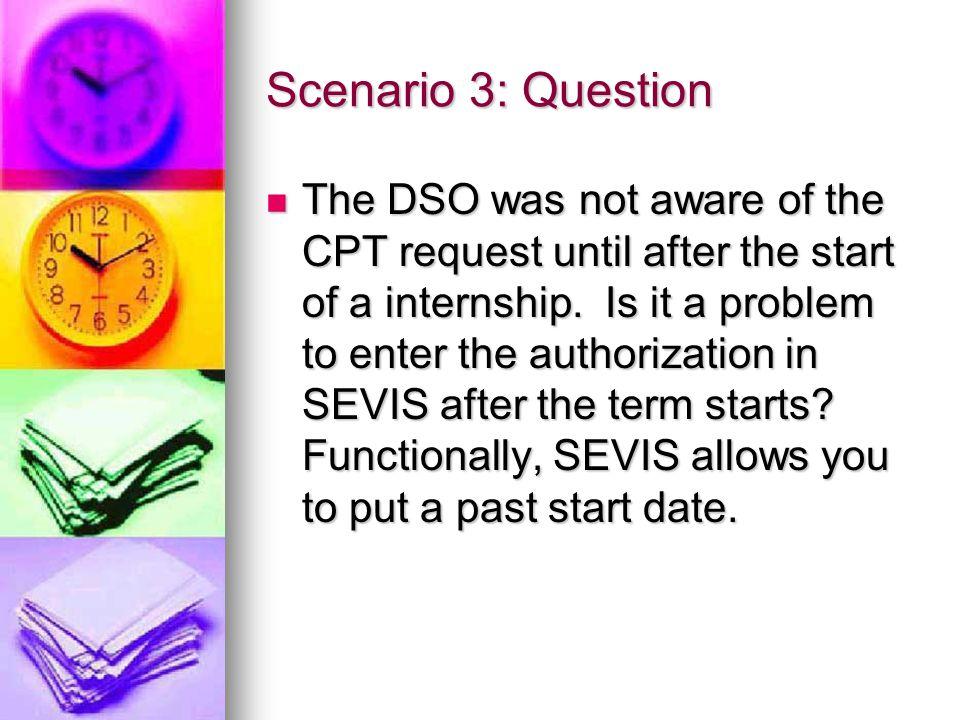 Scenario 3: Question