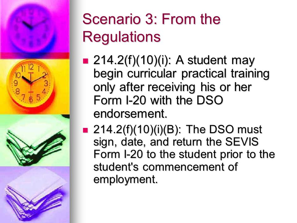 Scenario 3: From the Regulations