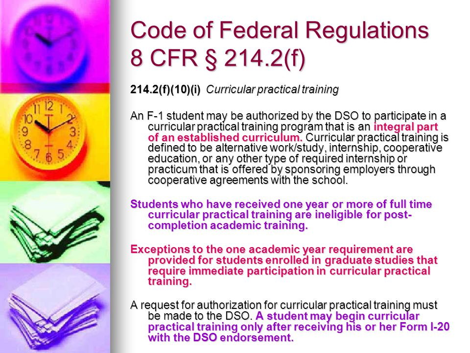 Code of Federal Regulations 8 CFR § 214.2(f)