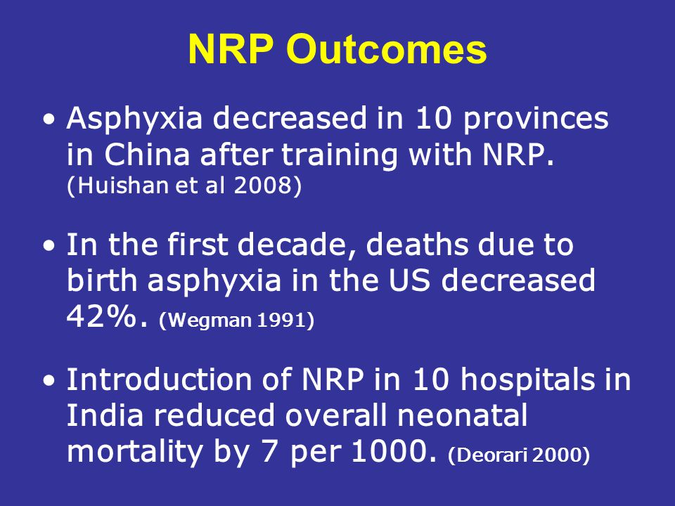 NRP Outcomes Asphyxia decreased in 10 provinces in China after training with NRP. (Huishan et al 2008)