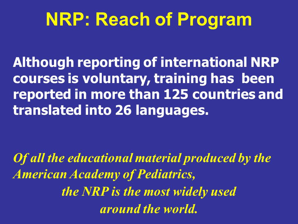 the NRP is the most widely used