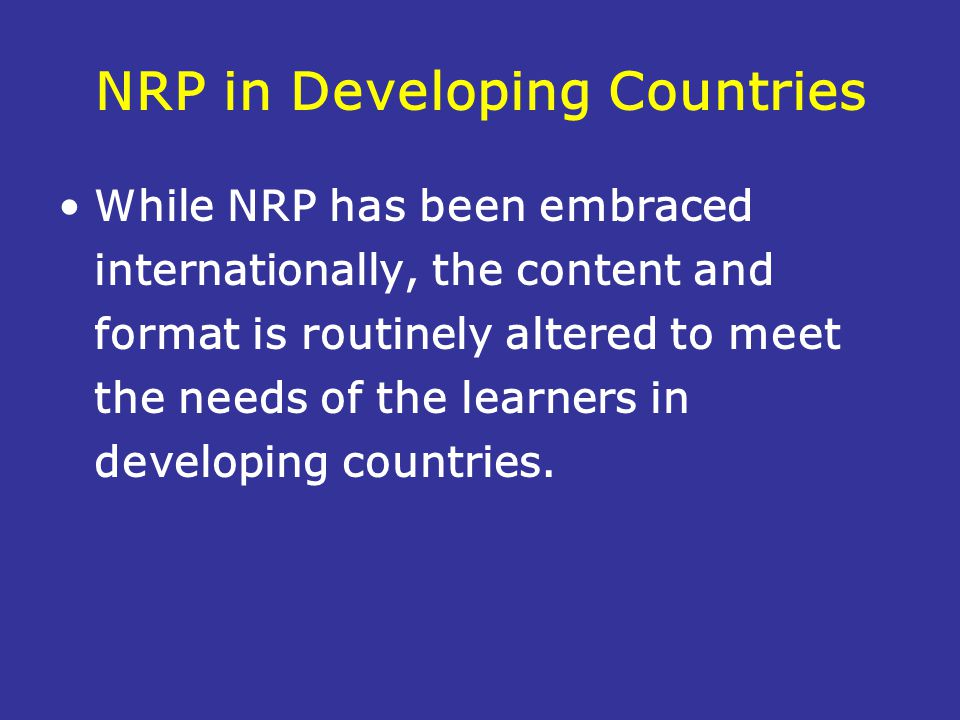 NRP in Developing Countries