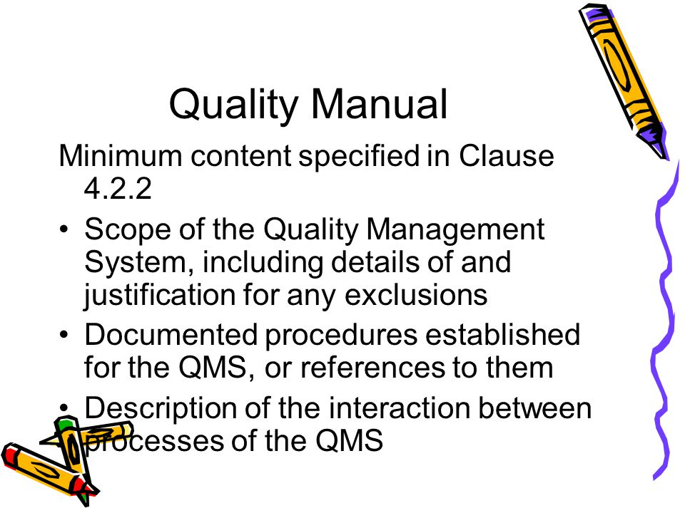 Quality Manual Minimum content specified in Clause 4.2.2