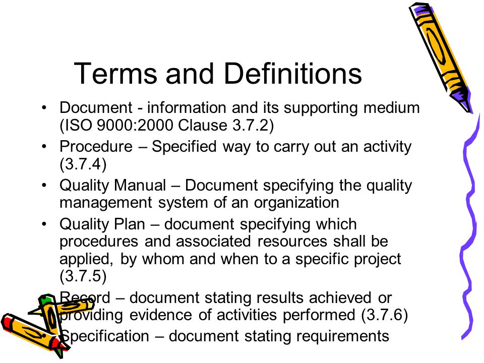 Terms and Definitions Document - information and its supporting medium (ISO 9000:2000 Clause 3.7.2)