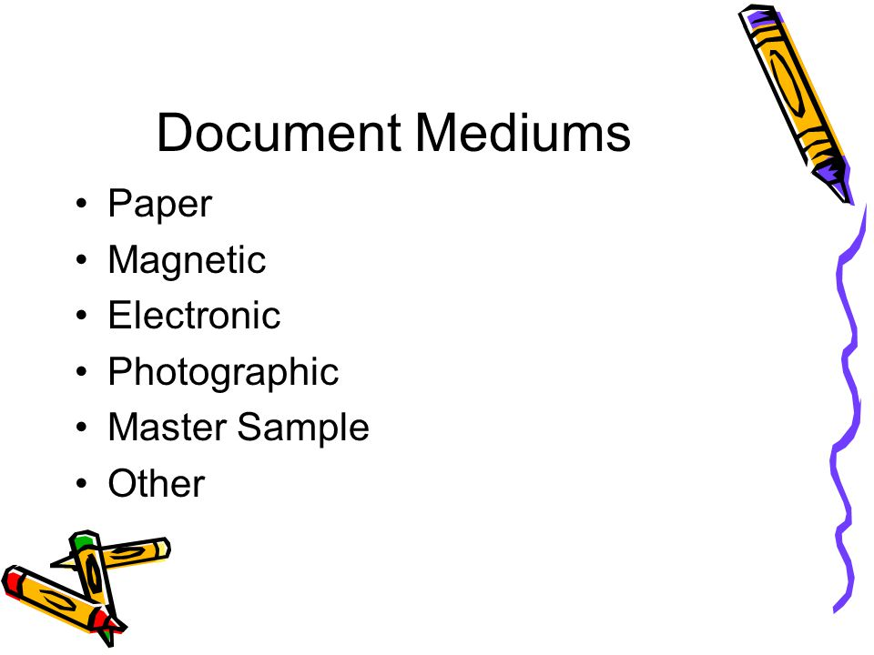 Document Mediums Paper Magnetic Electronic Photographic Master Sample