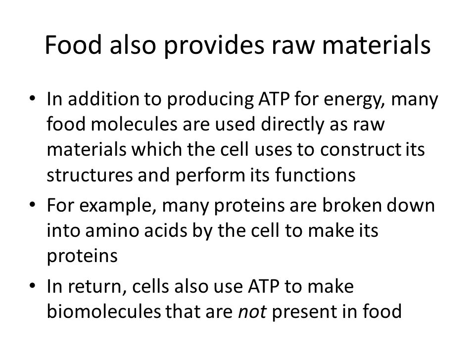 Food also provides raw materials