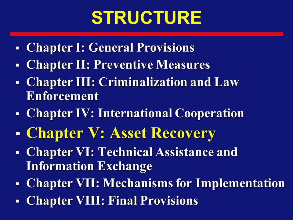 STRUCTURE Chapter V: Asset Recovery Chapter I: General Provisions